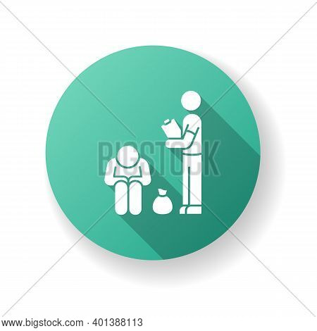 Service For Homeless Green Flat Design Long Shadow Glyph Icon. Social Service To Help Poor People. V