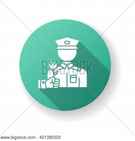 War Veterans Charity Green Flat Design Long Shadow Glyph Icon. Help For Army Soldier. Memorial Day A