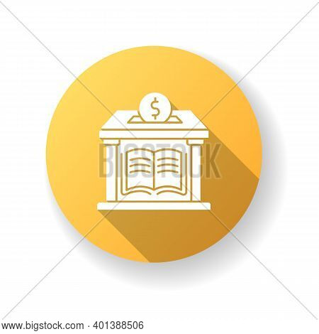 Public Library Donation Yellow Flat Design Long Shadow Glyph Icon. Donate Money To Support Free Educ