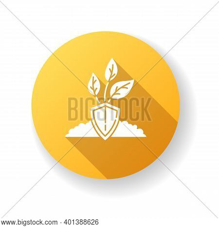 Nature Protection Yellow Flat Design Long Shadow Glyph Icon. Plant Preservation. Care For Tree Growt