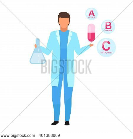 Vitamin Capsule Medication Flat Vector Illustration. Nutritionist Explaining Synthetic Vitamin Compo
