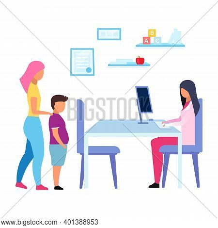 Teenage Obesity Problem Flat Vector Illustration. Mother And Son Visiting Physician, Nutritionist Is