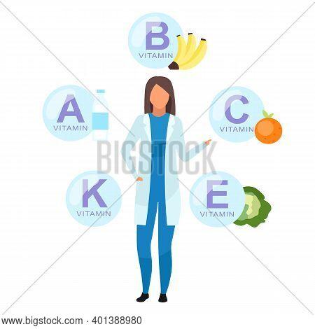 Doctor Explaining Vitamin Sources Flat Vector Illustration. Nutritionist Offering Fresh Fruit, Veget