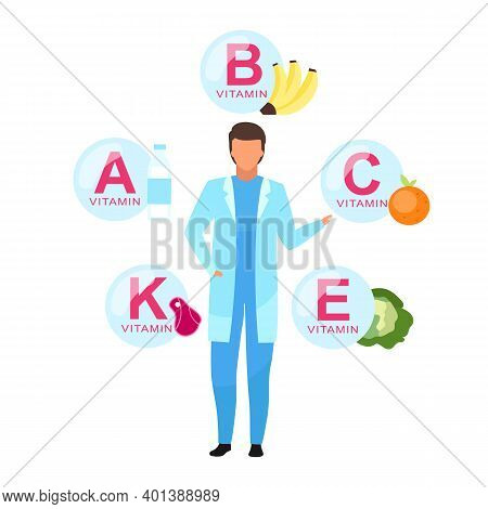 Balanced Nutrition Ingredients Flat Vector Illustration. Doctor Explaining Vitamin Sources Isolated