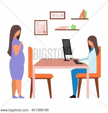 Pregnant Woman Visiting Doctor Flat Vector Illustration. Female Gynecologist Consulting Expectant La