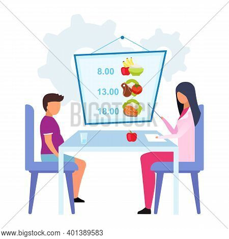 Planning Meals For Kid Flat Vector Illustration. Female Doctor, Nutritionist Explaining Healthy Food