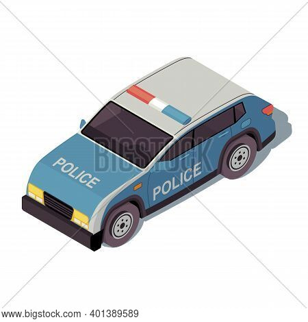 Police Car Isometric Color Vector Illustration. City Transport Infographic. Crossover Suv. Civil Con