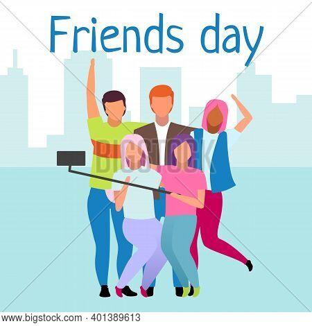 Friends Day Social Media Post Mockup. Friendship, Unity. Best Friends Forever. Advertising Web Banne