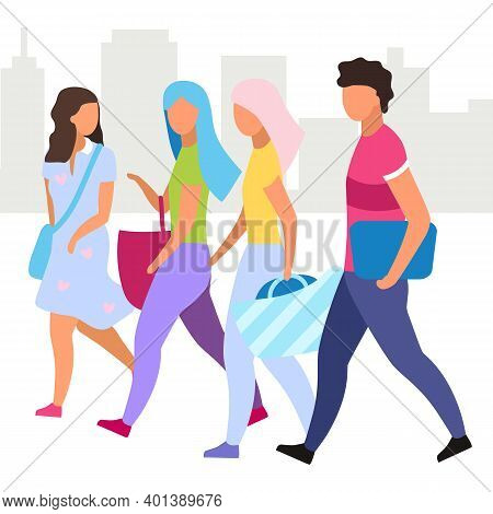 Friends Go Shopping Together Flat Vector Illustration. Guy And Girlfriends Walking City Street Carto