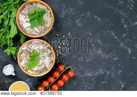 Headcheese And Fresh Vegetables. .the National Dish Of Russian, Ukraine And Belarus. .jelly. Tomatoe