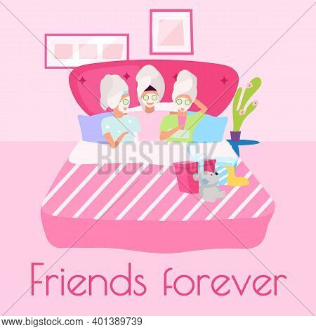 Friends Forever Social Media Post Mockup. Spa Sleepover Party. Beauty Time. Advertising Web Banner D