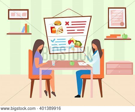 Woman Visiting Nutritionist Flat Vector Illustration. Doctor Explaining Healthy And Harmful Food Ing