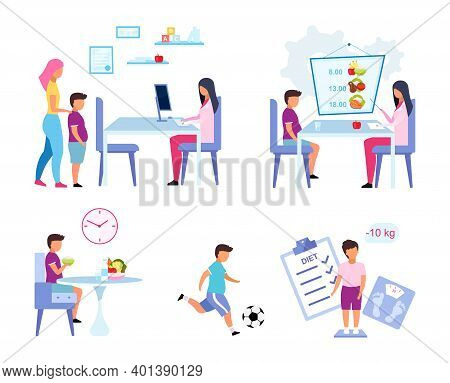 Children Obesity Problem Flat Vector Illustrations Set. Mother And Son Visiting Nutritionist Isolate