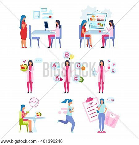 Healthy Lifestyle Flat Vector Illustrations Set. Nutritionist Consulting Obese Woman Isolated Cartoo