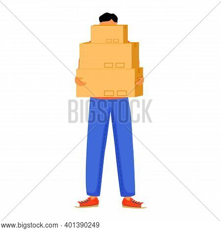 Man Receives Three Parcels Flat Color Vector Illustration. Getting Boxes At Post Office. Picking Up