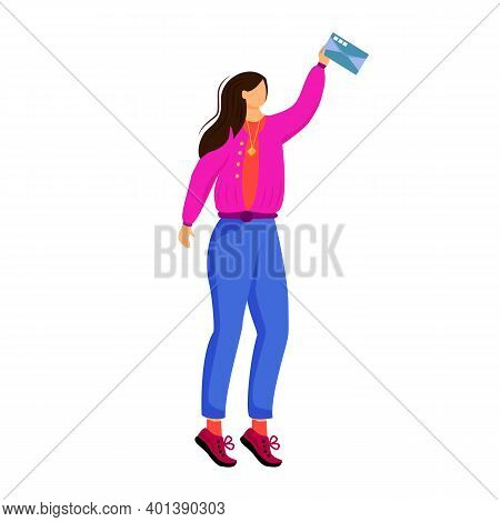 Woman Receives Letter Flat Color Vector Illustration. Getting Personal Post. Sending Greeting Card.