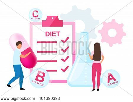 Food Supplements In Diet Plan Flat Vector Illustration. Man And Woman Taking Synthetic Vitamins. Pha