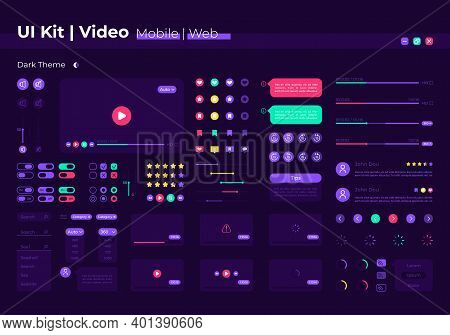 Video Ui Elements Kit. Search For Film. Multimedia Control Isolated Vector Icon, Bar And Dashboard T