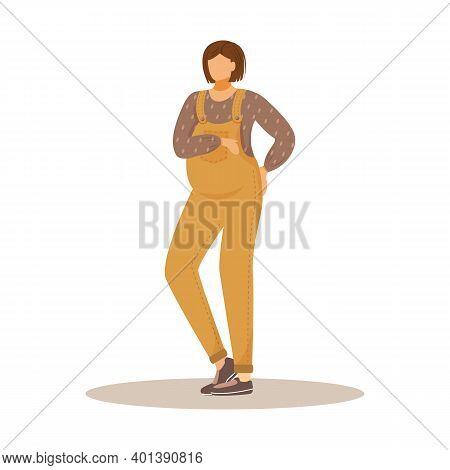 Pregnant Girl Flat Vector Illustration. Waiting For Baby. Maternity Expectation. Standing Brunette C