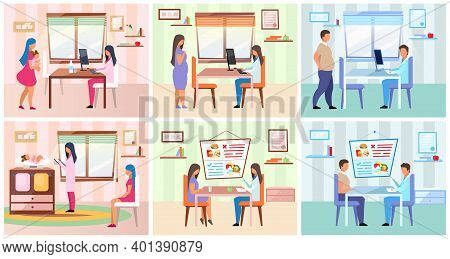 Family Visiting Nutritionist Flat Vector Illustrations Set. Young Mother Taking Baby To Pediatrician