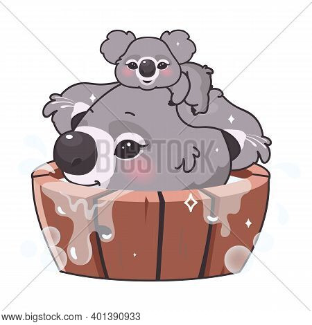 Cute Koalas Kawaii Cartoon Vector Character. Adorable And Funny Smiling Animal Child And Mom Bathing