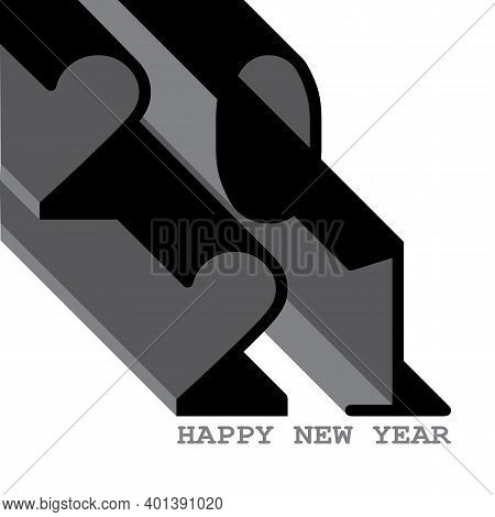 2021 Happy New Year, 2021 Shadow Monochrome, Black And White 2021, Icon For Starting The Year