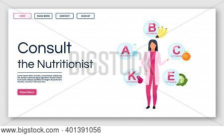 Consulting Nutritionist Landing Page Vector Template. Dietitian Recommendations Website Interface Id