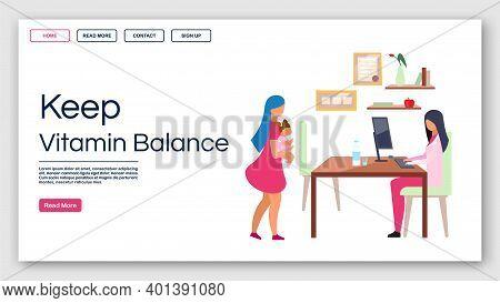 Kids Nutrition Vitamins Balance Landing Page Vector Template. Pediatrician Website Interface Idea Wi