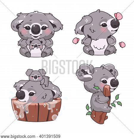 Cute Koala Bear Kawaii Cartoon Vector Characters Set. Adorable And Funny Animal Sitting On Branch, B