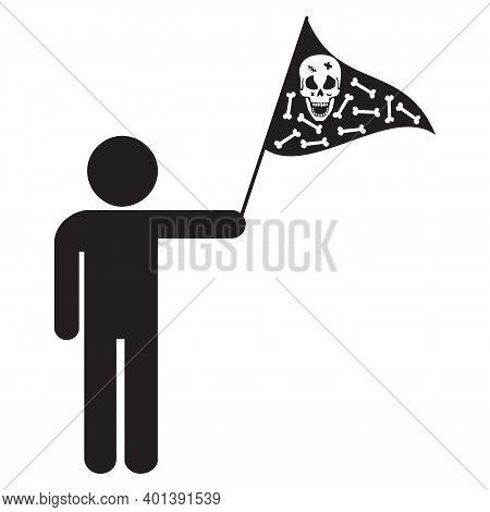 Man Holding Skull And Cross Bones Flag Isolated Illustration On A White Background. Jolly Roger Flag