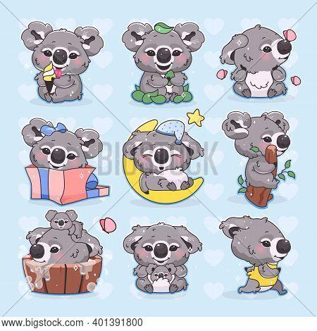 Cute Koala Kawaii Cartoon Vector Characters Set. Adorable And Funny Smiling Animal Running, Sleeping