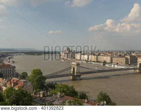 Spring Afternoon View Of The City Budapest And Danube River From Buda Castle In Budapest