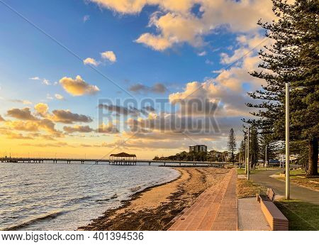 Panoramic View Of The Esplanade Walk And Jetty At Sunrise In Redcliffe, Queensland, Australia