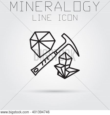 Stroke Line Icon Of Mineralogy And Geology.