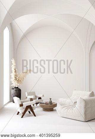 Contemporary Minimalist White Interior, Scandi-boho Style, 3d Illustration