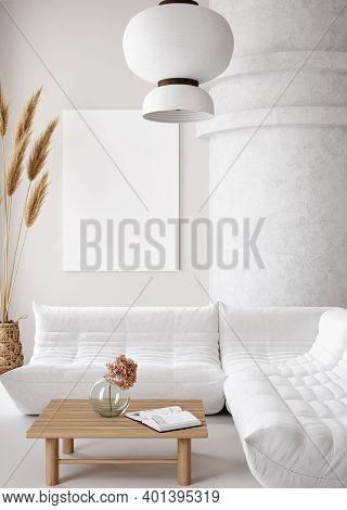 Mockup Poster Frame In Minimalist Modern Interior Background, 3d Illustration