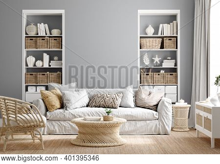 Cozy Grey Living Room Interior With Coastal Furniture, 3d Illustration