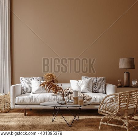 Boho Style Home Interior, Living Room In Brown Warm Color, 3d Illustration
