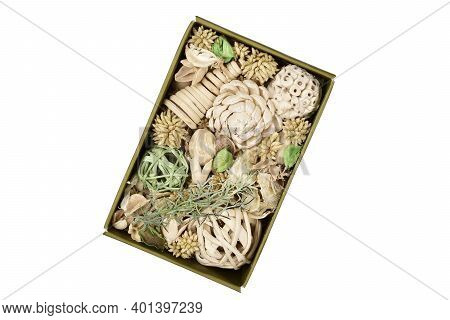 Potpourri Box Isolated On White Background With Clipping Path