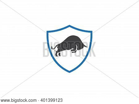 Minimal Ox Bull Logo With Shield Concept Vector Design. Bull Icon Design