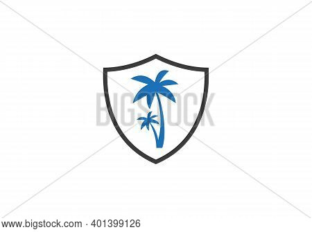 Palm Tree Design With Shield Vector. Tropical Beach And Palm Tree Logo Design. Creative Simple Palm