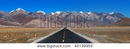 Long Way Ahead With High Mountain In Front