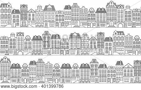 Vector Seamless Background With Townhouses In European Style. Hand-drawn Houses Black On White. Stoc