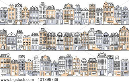 Vector Seamless Background With Townhouses In European Style. Hand-drawn Houses In Retro Colors. Sto