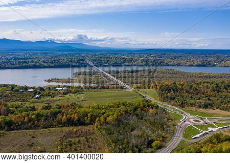 Aerial View Of The Rip Van Winkle Bridge Spanning The Hudson River Between Catskill, Ny And Hudson N