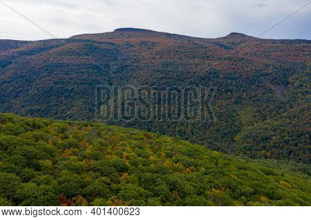 Kaaterskill Falls And Fall Foliage In The Catskill Mountains In Upstate New York.