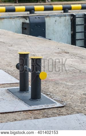 Mooring Bollard On A Wharf, To Which A Ship's Rope May Be Secured.