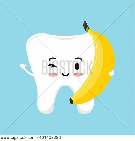 Cute Tooth With Banana Food For Dental Health. Strong White Tooth With Fresh Fruit. Children Teeth H