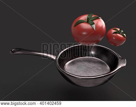 Flying Tomato In Fry Pan 3d Render