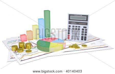 Economic Charts, Gold Coins And A Calculator
